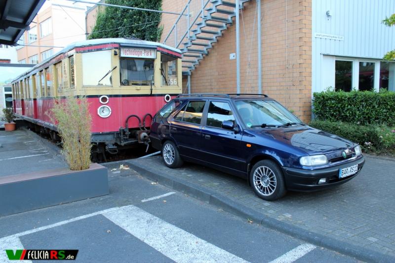 Fotoshooting des Škoda Felicia Combis mit der Ess-Bahn