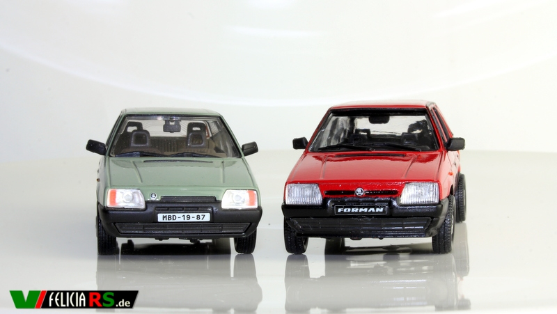 Škoda Favorit 1:43 Abrex vs. Škoda Forman 1996 Sportline Red limited Edition 1 of 1998 1:43 Abrex Auslieferungszustand